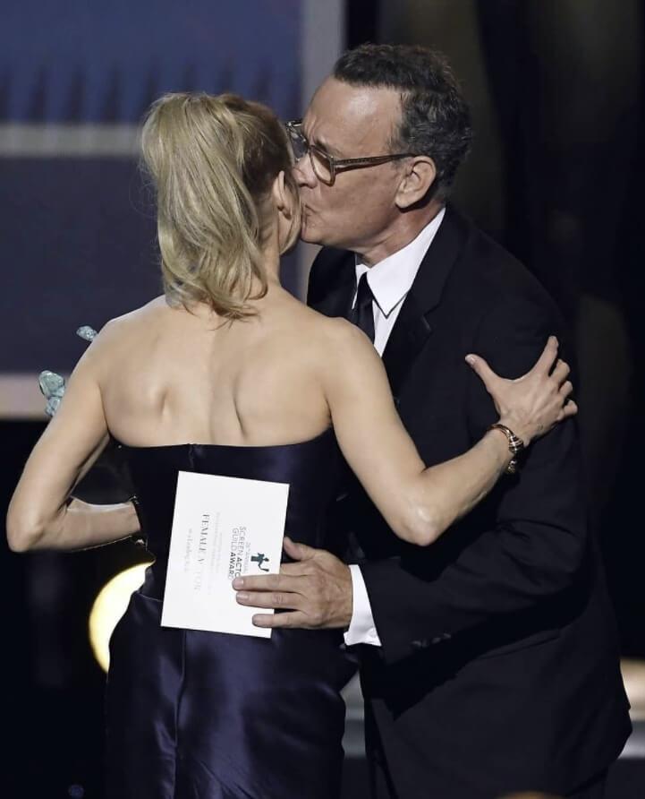 Tom Hanks kissing photo