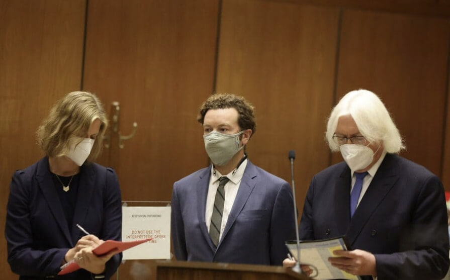 Sharon Appelbaum, Danny Masterson, Thomas Mesereau. Photo by Lucy Nicholson – Pool/Getty Images
